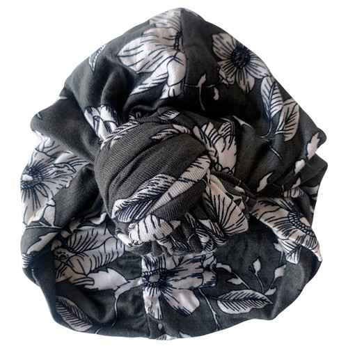 Knot Turban, Olive Floral