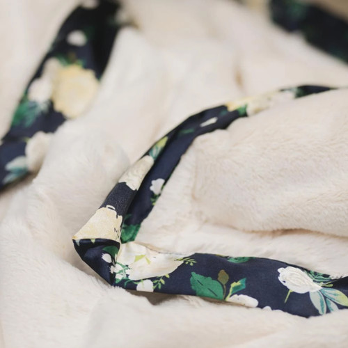 Lush Blankie with Satin Border, Ivory/Rose Blossoms