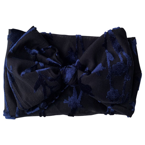 Holiday Collection Damask Bow Headband, Navy