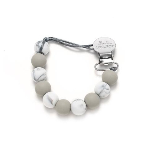 Lolli Silicone Pacifier Clip, Grey Marble