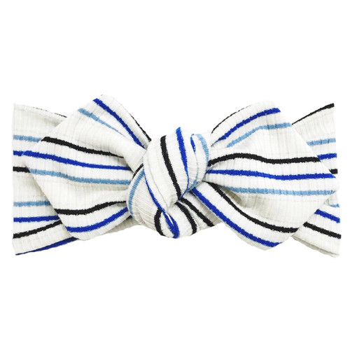 Top Knot Headband, Ribbed Shimmer Blue Stripe