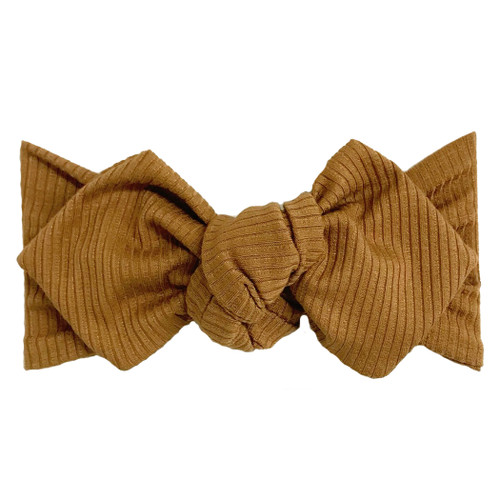 Top Knot Headband, Ribbed Camel