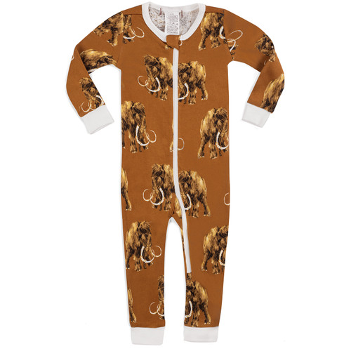 Organic Zip Romper, Woolly Mammoth