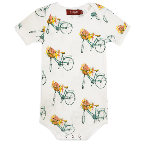 Bamboo Short Sleeve Bodysuit, Floral Bicycle