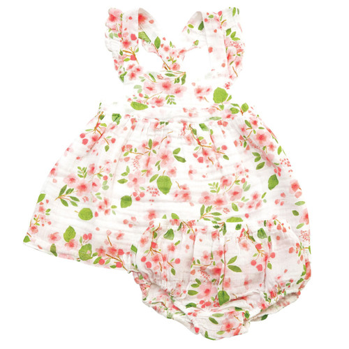 Pinafore Top & Bloomer, Cherry Blossoms