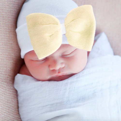 Newborn Bow Hat, Soft Yellow