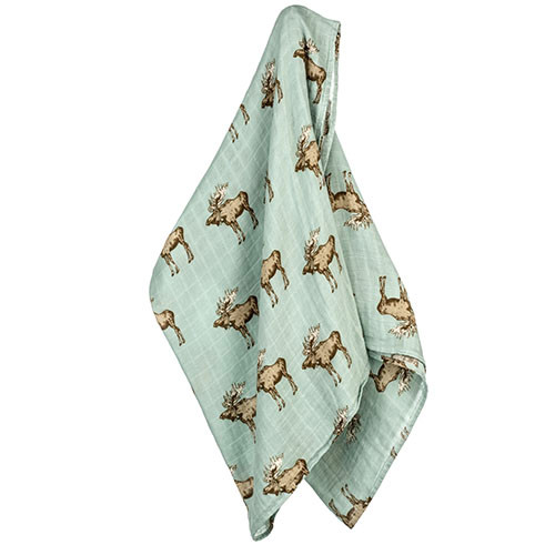 Bow Tie Moose Bamboo Swaddle