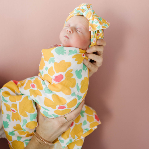 Bow & Swaddle Set, Abstract Poppy