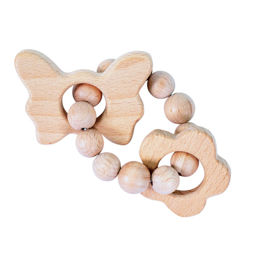 Wood Teether, Butterfly & Flower