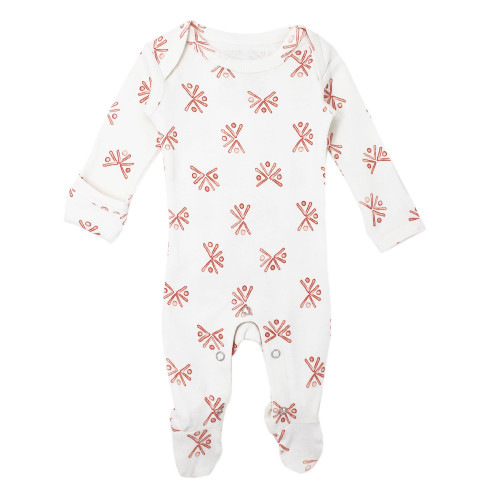 Organic Footed Romper, Copper Fans