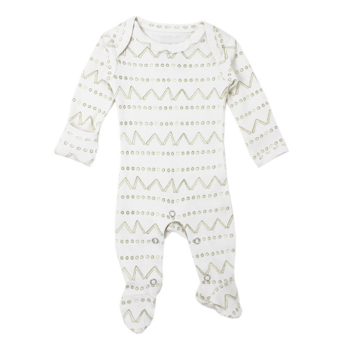 Organic Footed Romper, Sage Mountains