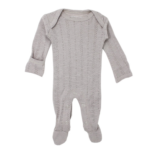Pointelle Footed Romper, Light Grey