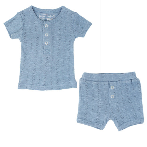 Pointelle Short Sleeve 2-Piece Outfit, Pool