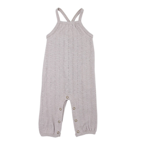 Pointelle Romper, Light Grey
