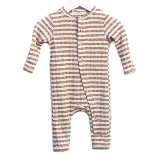 One Piece Rib Snap Romper, Tan Stripe
