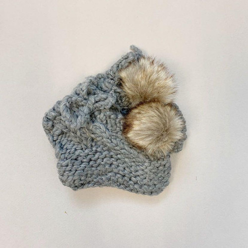 Newborn Pom Booties, Grey