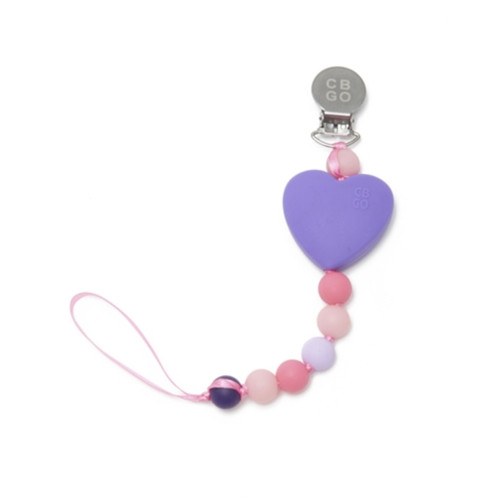 Pacifier Clip, Purple Heart