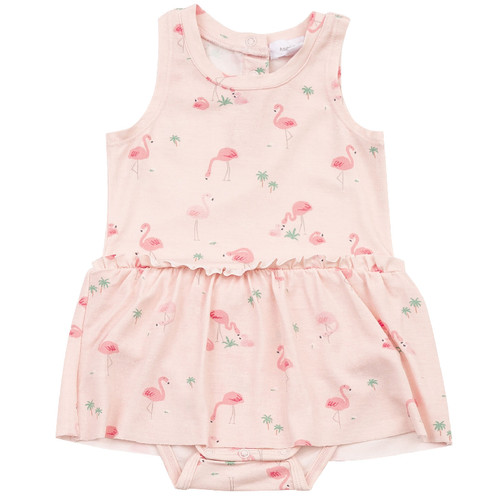 Sleeveless Skirted Bodysuit, Flamingo