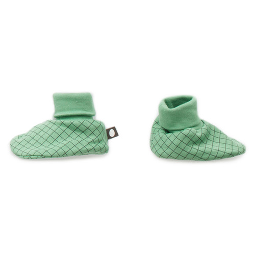 Oeuf Booties, Green Check