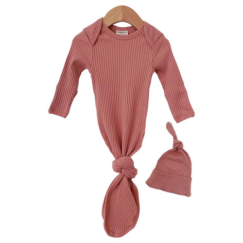 Organic Ribbed Knotted Gown & Hat Set, Dusty Rose