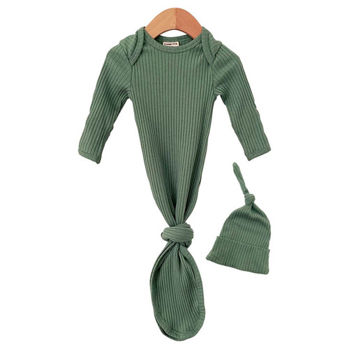 Organic Ribbed Knotted Gown & Hat Set, Sage