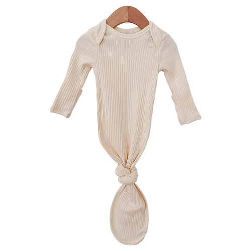 Organic Ribbed Knotted Gown, Ivory