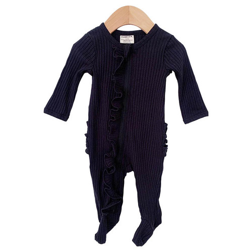 Organic Ribbed Ruffle Zipper Footie, Black