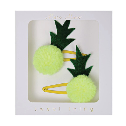 Pom Pom Hair Clips, Pineapples