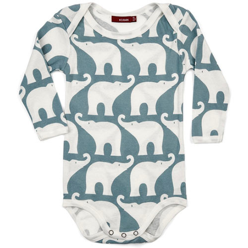 Blue Elephant Long Sleeve Bodysuit