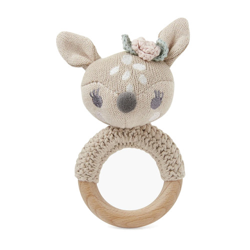 Fawn Knit Ring Rattle