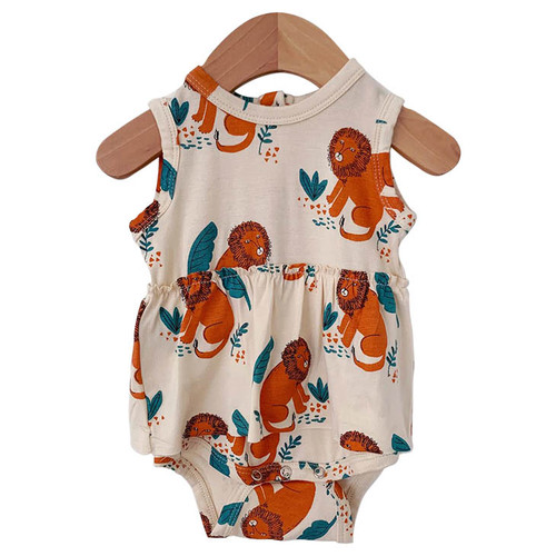 Sleeveless Skirted Bodysuit, Lion