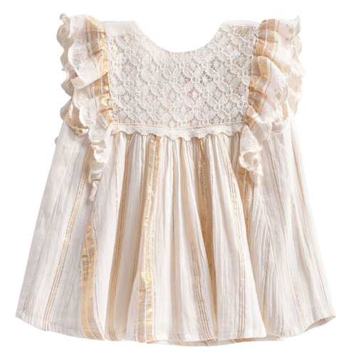 Lyka Dress, White/Gold Stripe