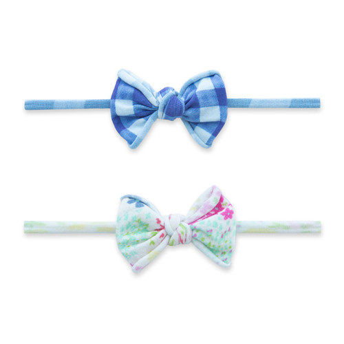 2-Pack Bow Set, Denim Ditsy