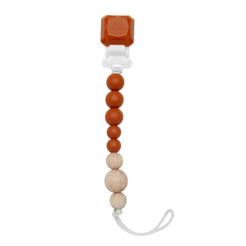 Colour Pop Gem Silicone & Wood Pacifier Clip, Burnt Orange