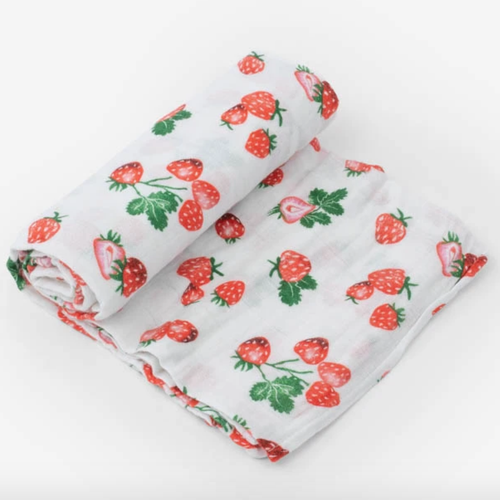 Muslin Swaddle, Strawberry Patch