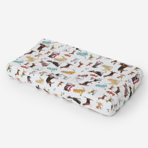 Muslin Changing Pad Cover, Dogs