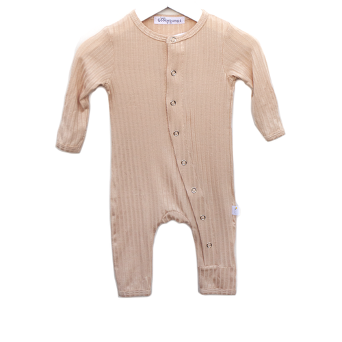One Piece Ribbed Snap Romper, Beige