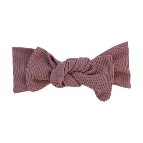 Ribbed Headwrap Bow, Dusty Rose