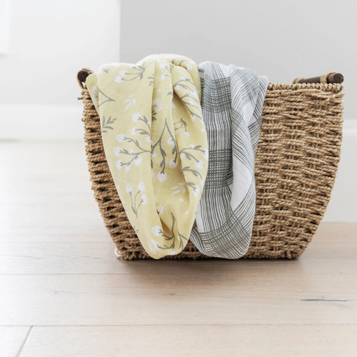 2-Pack Cotton Muslin Swaddles, Yellow Buds