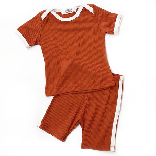 Ribbed 2-Piece Outfit, Rust