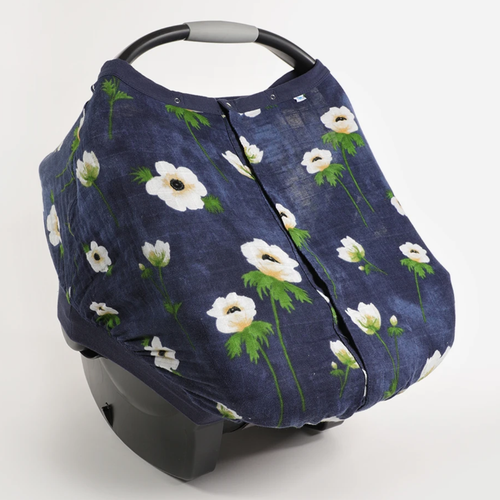 Muslin Car Seat Canopy, White Anemone