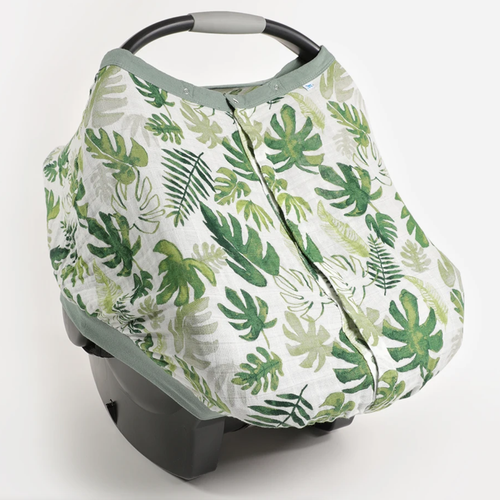 Muslin Car Seat Canopy, Tropical Leaf
