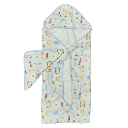Terry Cloth & Bamboo Hooded Towel Set, Breakfast Blue