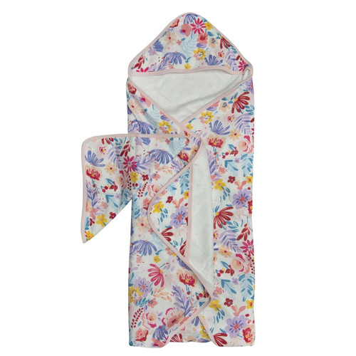 Terry Cloth & Bamboo Hooded Towel Set, Light Field Flowers