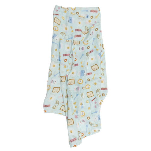 Luxe Muslin Swaddle, Breakfast Blue