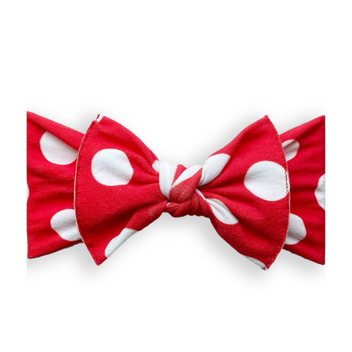 Printed Knot Bow, Red Polka Dot
