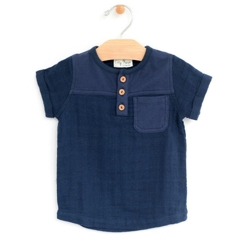 Muslin Henley Tee, Midnight Blue