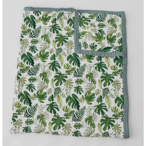 XL Muslin Quilt, Tropical Leaf