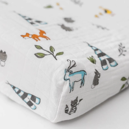 Muslin Changing Pad Cover, Forest Friends