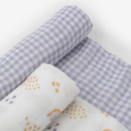 Deluxe Muslin Swaddle Set, Rainbow Gingham